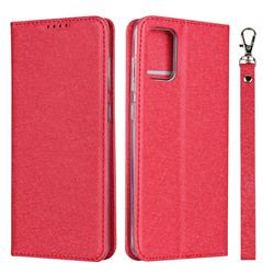Ultra Slim Magnetic Automatic Suction Silk Lanyard Leather Flip Cover for Samsung Galaxy A51 4G - Red