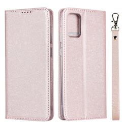 Ultra Slim Magnetic Automatic Suction Silk Lanyard Leather Flip Cover for Samsung Galaxy A51 4G - Rose Gold