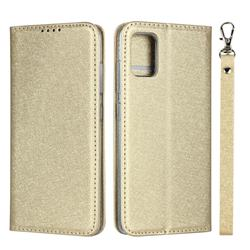 Ultra Slim Magnetic Automatic Suction Silk Lanyard Leather Flip Cover for Samsung Galaxy A51 4G - Golden