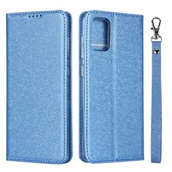 Ultra Slim Magnetic Automatic Suction Silk Lanyard Leather Flip Cover for Samsung Galaxy A51 4G - Sky Blue