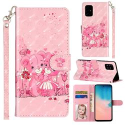 Pink Bear 3D Leather Phone Holster Wallet Case for Samsung Galaxy A51 4G