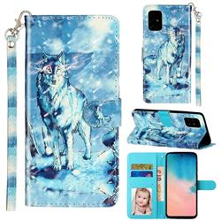 Snow Wolf 3D Leather Phone Holster Wallet Case for Samsung Galaxy A51 4G