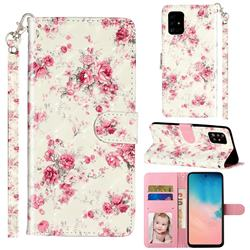 Rambler Rose Flower 3D Leather Phone Holster Wallet Case for Samsung Galaxy A51 4G
