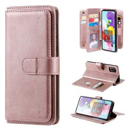 Multi-function Ten Card Slots and Photo Frame PU Leather Wallet Phone Case Cover for Samsung Galaxy A51 4G - Rose Gold