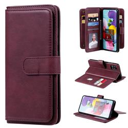 Multi-function Ten Card Slots and Photo Frame PU Leather Wallet Phone Case Cover for Samsung Galaxy A51 4G - Claret