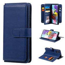 Multi-function Ten Card Slots and Photo Frame PU Leather Wallet Phone Case Cover for Samsung Galaxy A51 4G - Dark Blue