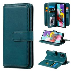 Multi-function Ten Card Slots and Photo Frame PU Leather Wallet Phone Case Cover for Samsung Galaxy A51 4G - Dark Green