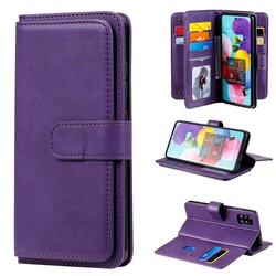 Multi-function Ten Card Slots and Photo Frame PU Leather Wallet Phone Case Cover for Samsung Galaxy A51 4G - Violet