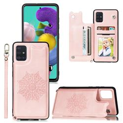 Luxury Mandala Multi-function Magnetic Card Slots Stand Leather Back Cover for Samsung Galaxy A51 - Rose Gold