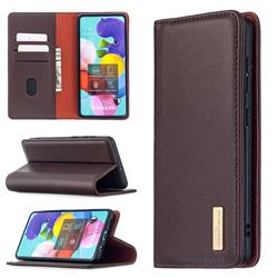 Binfen Color BF06 Luxury Classic Genuine Leather Detachable Magnet Holster Cover for Samsung Galaxy A51 4G - Dark Brown