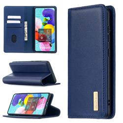 Binfen Color BF06 Luxury Classic Genuine Leather Detachable Magnet Holster Cover for Samsung Galaxy A51 4G - Blue