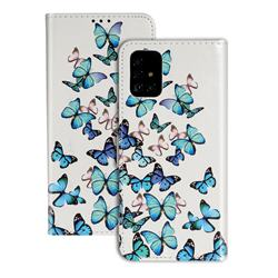 Blue Vivid Butterflies PU Leather Wallet Case for Samsung Galaxy A51 4G
