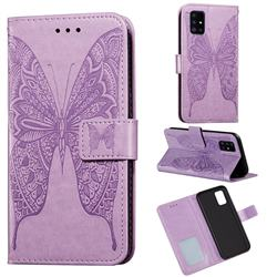 Intricate Embossing Vivid Butterfly Leather Wallet Case for Samsung Galaxy A51 4G - Purple