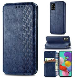 Ultra Slim Fashion Business Card Magnetic Automatic Suction Leather Flip Cover for Samsung Galaxy A51 - Dark Blue
