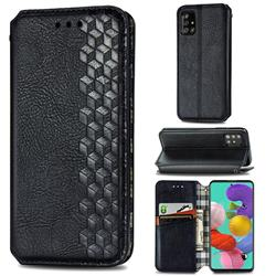 Ultra Slim Fashion Business Card Magnetic Automatic Suction Leather Flip Cover for Samsung Galaxy A51 - Black