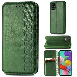 Ultra Slim Fashion Business Card Magnetic Automatic Suction Leather Flip Cover for Samsung Galaxy A51 - Green