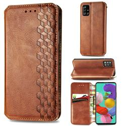 Ultra Slim Fashion Business Card Magnetic Automatic Suction Leather Flip Cover for Samsung Galaxy A51 4G - Brown