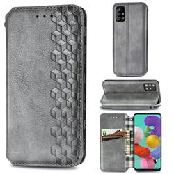 Ultra Slim Fashion Business Card Magnetic Automatic Suction Leather Flip Cover for Samsung Galaxy A51 - Grey