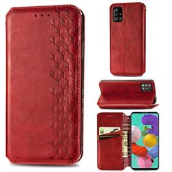 Ultra Slim Fashion Business Card Magnetic Automatic Suction Leather Flip Cover for Samsung Galaxy A51 4G - Red