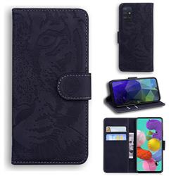 Intricate Embossing Tiger Face Leather Wallet Case for Samsung Galaxy A51 4G - Black