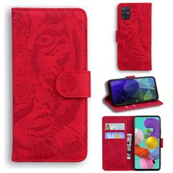 Intricate Embossing Tiger Face Leather Wallet Case for Samsung Galaxy A51 4G - Red