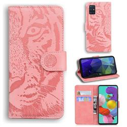 Intricate Embossing Tiger Face Leather Wallet Case for Samsung Galaxy A51 4G - Pink