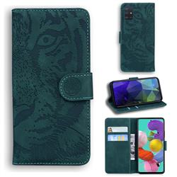 Intricate Embossing Tiger Face Leather Wallet Case for Samsung Galaxy A51 4G - Green