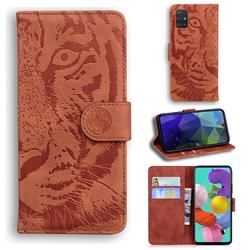 Intricate Embossing Tiger Face Leather Wallet Case for Samsung Galaxy A51 4G - Brown