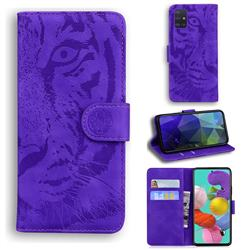 Intricate Embossing Tiger Face Leather Wallet Case for Samsung Galaxy A51 4G - Purple
