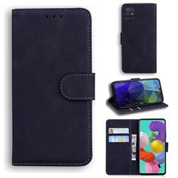 Retro Classic Skin Feel Leather Wallet Phone Case for Samsung Galaxy A51 4G - Black
