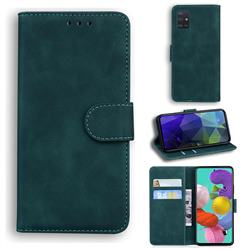 Retro Classic Skin Feel Leather Wallet Phone Case for Samsung Galaxy A51 4G - Green