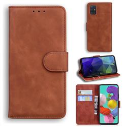 Retro Classic Skin Feel Leather Wallet Phone Case for Samsung Galaxy A51 4G - Brown