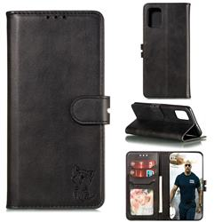 Embossing Happy Cat Leather Wallet Case for Samsung Galaxy A51 4G - Black