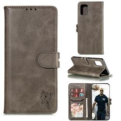 Embossing Happy Cat Leather Wallet Case for Samsung Galaxy A51 4G - Gray