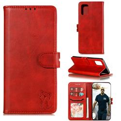Embossing Happy Cat Leather Wallet Case for Samsung Galaxy A51 4G - Red