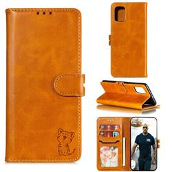 Embossing Happy Cat Leather Wallet Case for Samsung Galaxy A51 4G - Yellow