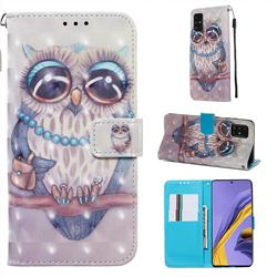 Sweet Gray Owl 3D Painted Leather Wallet Case for Samsung Galaxy A51 4G