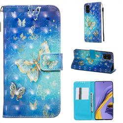 Gold Butterfly 3D Painted Leather Wallet Case for Samsung Galaxy A51 4G