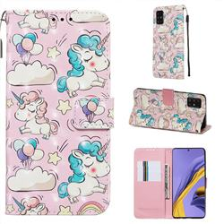 Angel Pony 3D Painted Leather Wallet Case for Samsung Galaxy A51 4G