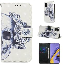 Skull Flower 3D Painted Leather Wallet Case for Samsung Galaxy A51 4G