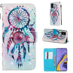 ColorDrops Wind Chimes 3D Painted Leather Wallet Case for Samsung Galaxy A51 4G