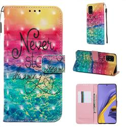 Colorful Dream Catcher 3D Painted Leather Wallet Case for Samsung Galaxy A51 4G