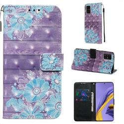 Blue Flower 3D Painted Leather Wallet Case for Samsung Galaxy A51 4G
