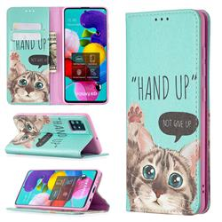 Hand Up Cat Slim Magnetic Attraction Wallet Flip Cover for Samsung Galaxy A51 4G