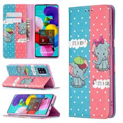 Elephant Boy and Girl Slim Magnetic Attraction Wallet Flip Cover for Samsung Galaxy A51 4G