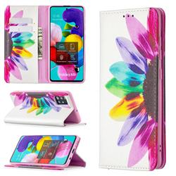 Sun Flower Slim Magnetic Attraction Wallet Flip Cover for Samsung Galaxy A51 4G