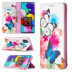 Flying Butterflies Slim Magnetic Attraction Wallet Flip Cover for Samsung Galaxy A51 4G