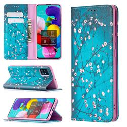 Plum Blossom Slim Magnetic Attraction Wallet Flip Cover for Samsung Galaxy A51 4G