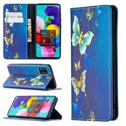 Gold Butterfly Slim Magnetic Attraction Wallet Flip Cover for Samsung Galaxy A51 4G