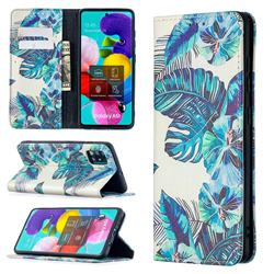 Blue Leaf Slim Magnetic Attraction Wallet Flip Cover for Samsung Galaxy A51 4G